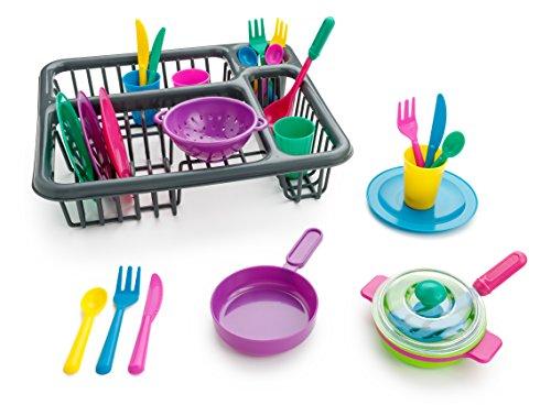 Playkidz- súper Durable Juego de aparentar-Conjunto de Platos para niños-27 Piezas con escurridor-Juguetes de Cocina de plástico para niños, múltiples , color/modelo surtido