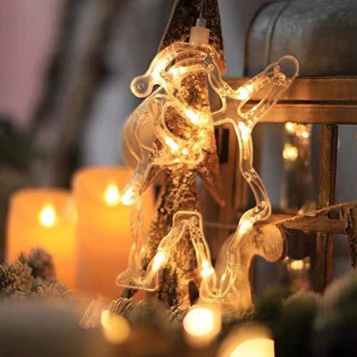 LED ventana de navidad forma de luz mural de ventana ventosa silueta de ventana luces de navidad con pilas decoración luz para habitación de niños escaparate fiesta (3 piezas),Santa claus 12 * 21cm