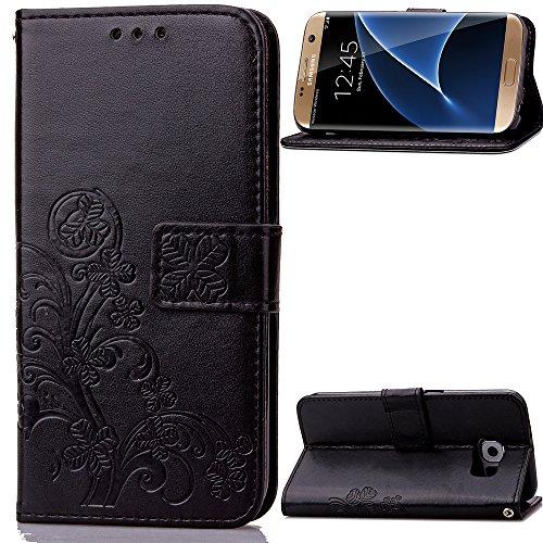 Lomogo Galaxy S7 Edge Hülle Leder, Schutzhülle Brieftasche mit Kartenfach Klappbar Magnetisch Stoßfest Handyhülle Case für Samsung Galaxy S7Edge/G935F - LOSDA040483 Schwarz