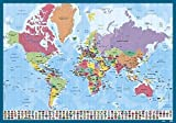Erik® - Sous-Main de Bureau Carte du Monde - Sous-Main Enfant - 34x49cm