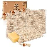 TRUE NATURE® Seifensäckchen [4er Set] LABORGEPRÜFT - Seifenbeutel Sisal mit farbigen Labels zum...