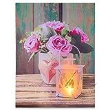Nexos LED Wandbild mit Beleuchtung Fotodruck Love 30 x 40 cm Kunstdruck Leuchtbild Rose Lampe Vintage-Stil Shabby Chic Hütte Leinwandbild Bauernhaus mit Timer
