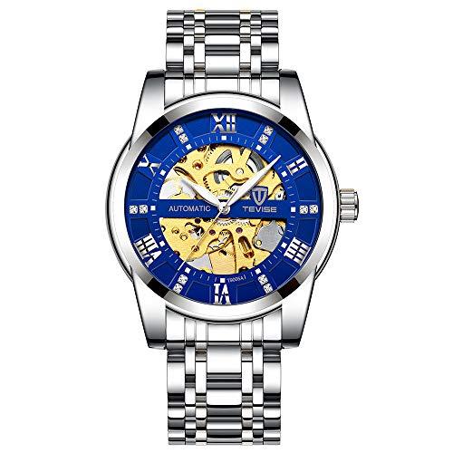 DDH Reloj Menú mecánico, Skeleton Movimiento Mecánico Watchull Funda Metal Reloj Mecánico Impermeable, Reloj Mecánico Automático de Lujo (Diamétrico Diámetro 41mm)-Silver Black