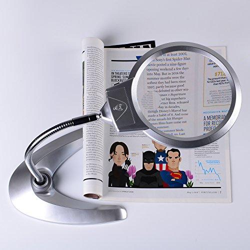XYK Leselupe, 14 cm Durchmesser, faltbares Design mit 2LED-Lampen, Stromversorgung durch 3x AAA Batterien; inkl. Zusatzlinse mit 5-facher Vergrößerung und 2,5 cm Durchmesser - 5