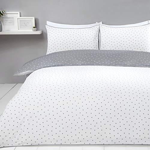 Sleepdown Juego de Funda de edredón Reversible con diseño de Lunares, Color Gris y Blanco, fácil de cuidar, con Fundas de Almohada, tamaño King (220 x 230 cm), algodón y poliéster