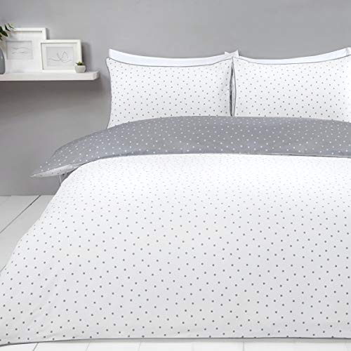 Sleepdown Mini Polka Dots Reversible Double Duvet Cover Set. Easy Care And Super Soft Cotton Design. White And Grey Dotted Pattern quilt. Size 200x200 cm + 2 matching pillowcase.