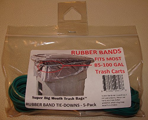 Super Big Mouth Trash Bags Rubber Bands 5-Pack Fits 85-100 Gallon Cans/Carts