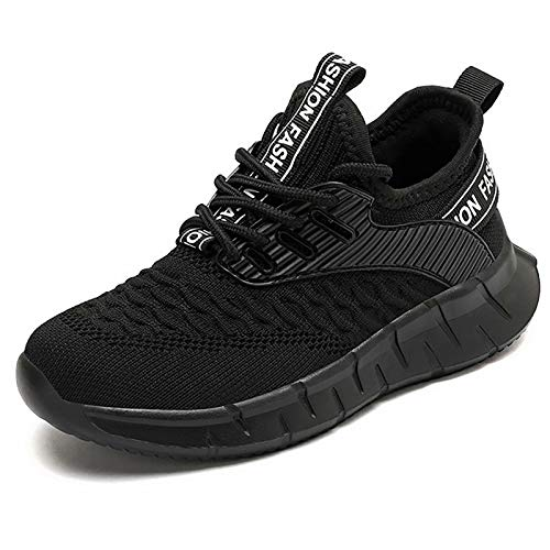 GURGER Sneakers Garçon Fille Chaussure de Course Enfant Mode Baskets Antidérapantes Running Shoes Kids Respirant Chaussure de Sport Noir 33 EU