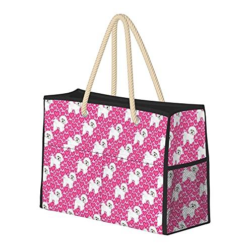 Bolsa de playa grande y bolsa de viaje para mujer – Bolsa de piscina con asas, bolsa de semana y bolsa de noche – Bichon Frise perros y corazones rosados