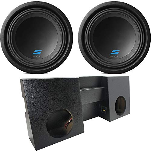 "Compatible with 2005-2015 Toyota Tacoma Double Cab Truck Alpine Type S S-W10D2 Dual 10"" Rhino Coated Sub Box Enclosure - Final 2 Ohm"