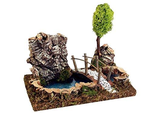 BERTONI Miniatur-See mit Baum und Brücke, Holz, Mehrfarbig, 23x 15x 18cm