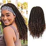 Headband Wigs Dreadlock Wig Turban Wig Braided Twist Wigs Hand Braided Curl Synthetic Party Cosplay Half Wigs for Black Women Mixed Brown 20'