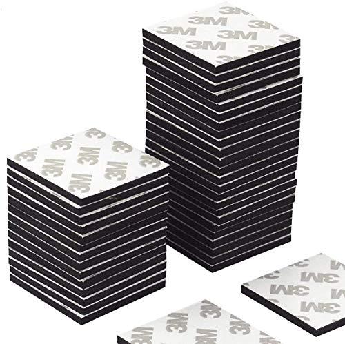 Adhesivo Doble Cara,100 PCS Adhesivas de Espuma Extrafuertes 3M Pad Adhesivo Negra Cuadrados Cinta de Espuma para Paredes Piso Puerta Plásticos Gafas Metales 4*4CM