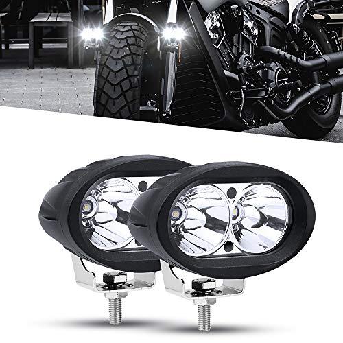 Phare LED Moto Avant,20W Feux Additionnels Moto Ronde Phare de Travail Feux Brouillard 12V/24V White Imperméable pour Camion Hors Route Lumières 4x4 VTT