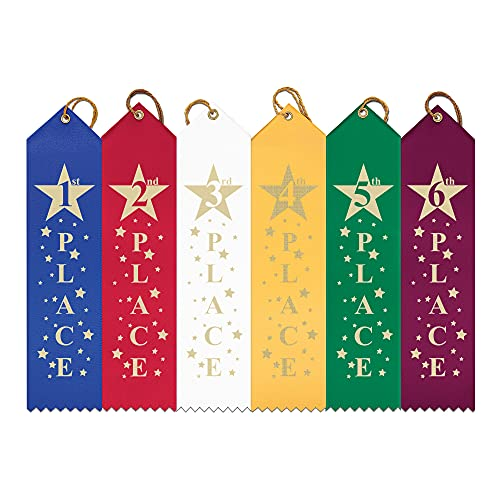 Hodges Badge Company Point Top Star Award Ribbons - 1st - 6th - 25 Each (150 Total) - Made in USA