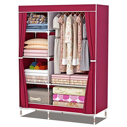 ZZBIQS - Armadio con scomparti e tasche laterali, in tessuto, con aste appendiabiti, per vestiti, guardaroba, cameretta, camera da letto, colore: rosso vino