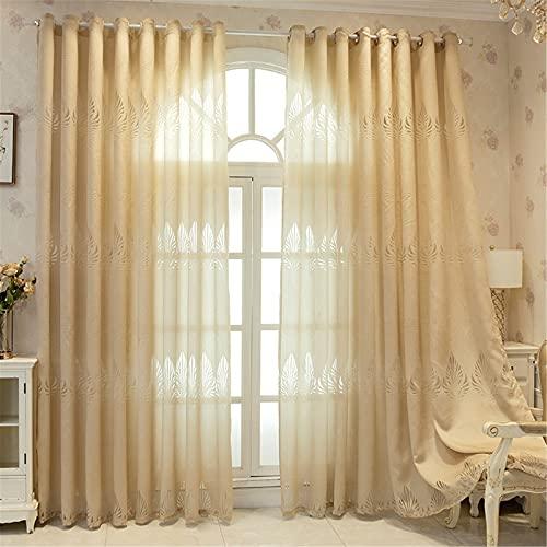 FACWAWF Hilo De Cortina Simple Luz De Lujo Hilo De Hoja Amarilla Jacquard Sala De Estar Dormitorio Cortinas Semi-Opacas Huecas 59x106in(150x270cm) WxH(1pcs)
