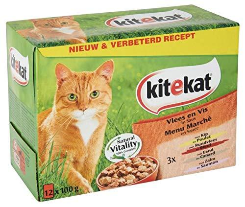 Kitekat pouch multipack vlees en vis in saus kattenvoer 12X100 GR