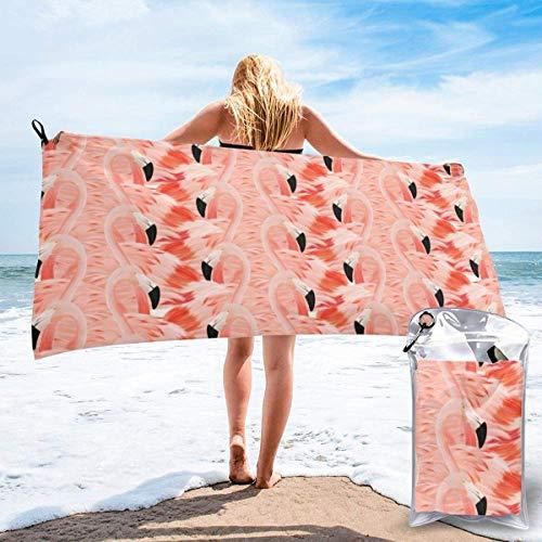 Toallas de Playa Toallas de baño compactas portátiles de Microfibra sin Arena, Flamingo Manta de Toalla de Camping súper Liviana de Secado rápido con una Bolsa de Transporte