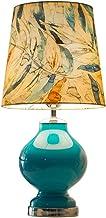 DALIBAI Abajur de mesa azul lateral de vidro e mesa com folhas tropicais, cúpula cilíndrica para quarto, sala de estar, es...