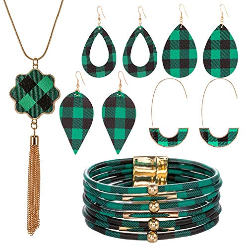 Woman 1PCS Pendant Necklace 4 Set Earring And 1 PCS Bracelet Plaid Printing Hanging Earrings for Womens Alloy Earrings Piercing Hypoallergenic Fashion