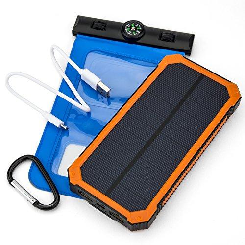 Opul zonne-powerbank met oplading via zonnepanelen, duurzaam en draagbaar voor het opladen in de rugzak, met gratis en waterdichte telefoonhoes voor probleemloos opladen op elke plek