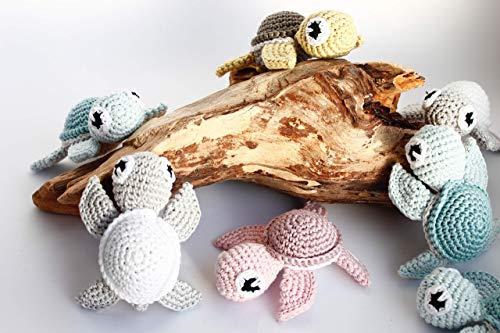 Schildkröte gehäkelt, 100% Baumwolle, mint, rosa, weiss grau, senf olive, deutsche Handarbeit