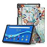 topCASE Ultra Delgada Funda para Lenovo Tab M10 HD (2nd Gen) TB-X306X 10.1 Pulgadas 2020 con Soporte Función Auto-Sueño/Estela,Ciervo de Color