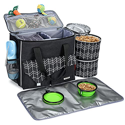 BABEYER Dog Travel Bag with Food Container Bag and Collapsible Bowl Included, Airline Approved Pet...