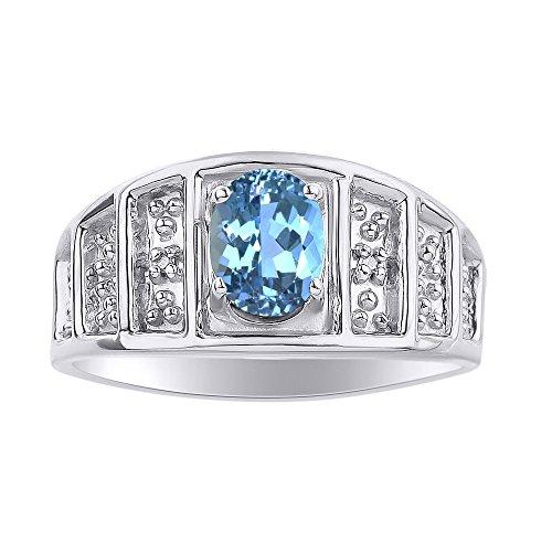 Anillo de plata de ley con piedra de color y topacio azul, anillo de piedra de nacimiento