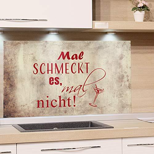 GRAZDesign Küchenrückwand Glas Cocktailglas, Rückwand Küche braun, Küchen Spritzschutz Herd lustiger Spruch, Nischenrückwand Küche Küchenspruch / 100x50cm