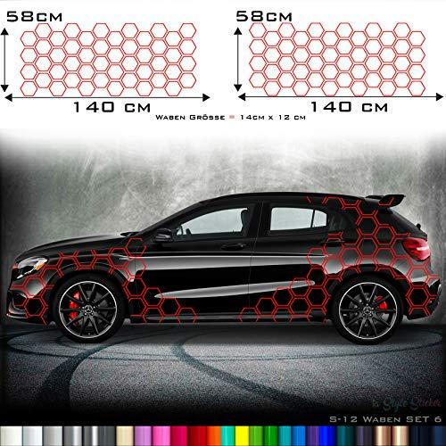 Aufkleber Auto Seitenaufkleber Waben Rauten Hexa Style Matrix Camo Style Sticker S12
