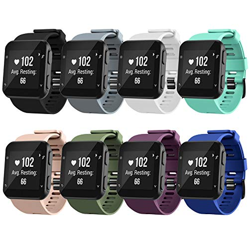 Watch Bands Compatible for Garmin Forerunner 35 Bands, Soft Silicone Sports Replacement Wristbands Strap for Garmin Forerunner 35 Smart Watch, NO Tracker, 8 Packs