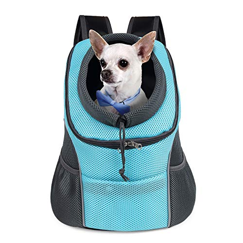 WOYYHO Pet Dog Carrier Backpack Puppy Dog Travel Carrier Front Pack Breathable Head-Out Backpack Carrier for Small Dogs Cats Rabbits ( M ( up to 10 lbs ) , Cyan )