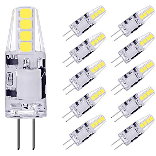 AGOTD G4 LED Lampen, 2W LED Birnen ersetzt 20W Halogenlampen, Kaltweiß 6000K 160LM 12V AC/DC LED Leuchtmittel, 360° Kein Flackern G4 LED Birne, Nicht Dimmbar Stiftsockellampe Glühbirnen, 10er Pack
