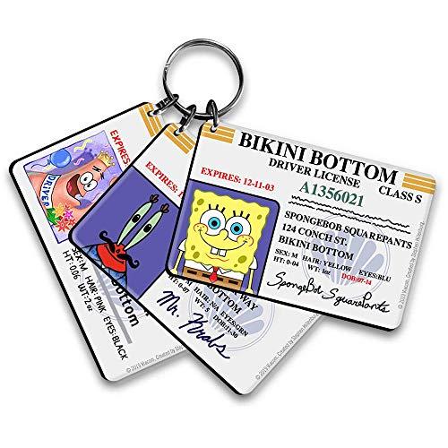 SpongeBob Bikini Bottom Drivers License Keychain Bundle - 3 Pack - SpongeBob, Patrick, Mr. Krabs Keychains