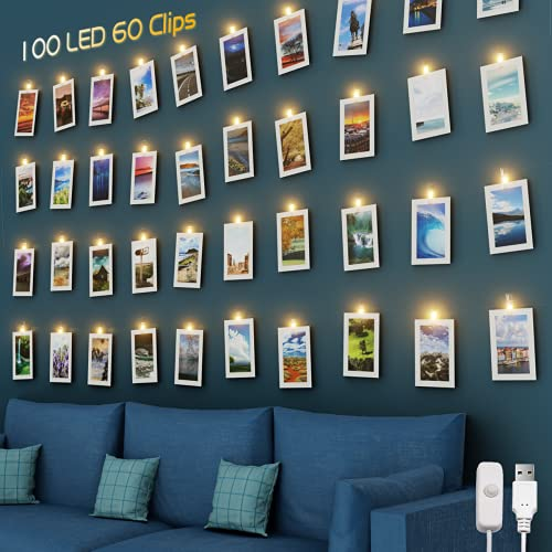 Litogo Luci per Foto, 10M 100 LED Lucine LED Decorative per Camere, Porta Foto con 60 Mollette e 20 Chiodi, Filo LED Ricarica USB Luci Appendi Foto Decorative Interno per Matrimonio, Festa, Compleanno