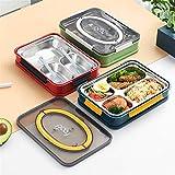 Loncheras Acero Inoxidable Caja de Almuerzo con Box Lunch Estudiante de educación Superior de Split cuadrícula Hogar y Cocina Cajas Bento (Color : Green Four Cells, Size : 26x18.5x6cm)