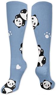 Enhusk, Calcetines largos Chino lindo Panda pequeño para niño Calcetines para mujer Diseño largo Multi colorido estampado Calcetines altos hasta la rodilla Cómodo y resistente al desgaste para hombres y muje