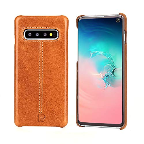"""Samsung Galaxy S10+ Case,Pierre Cardin Premium Genuine Cowhide Handcrafted Vintage Shell Hard Back Cover for Samsung Galaxy S10+(6.4"""" SM-G9750),Black"""