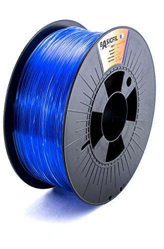 Basicfil PET 1.75mm, 1 kg filamento per stampante 3D, Blu trasparente