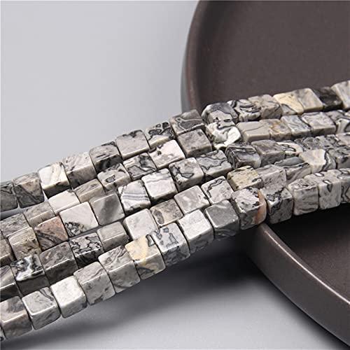 Pietre preziose Branelli quadrati di pietra naturale 6mm fascino perline distanziatore allentato per il monili che fanno il braccialetto fai da te trovando accessori 15 'Regalo ( Color : 2.Map Stone )