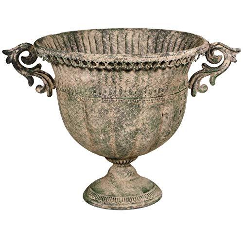 SIDCO Blumentopf Metall Übertopf Schale Pokal XXL Deko Vintage Garten Rost 32 cm