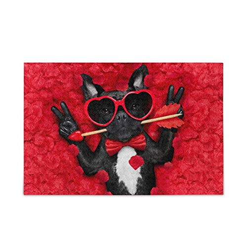 Funny French Bulldog Jigsaw Puzzle 500 Pieces Valentines Red Roses DIY Wall Art Intellectual Decompressing Fun Game for Adults Teens
