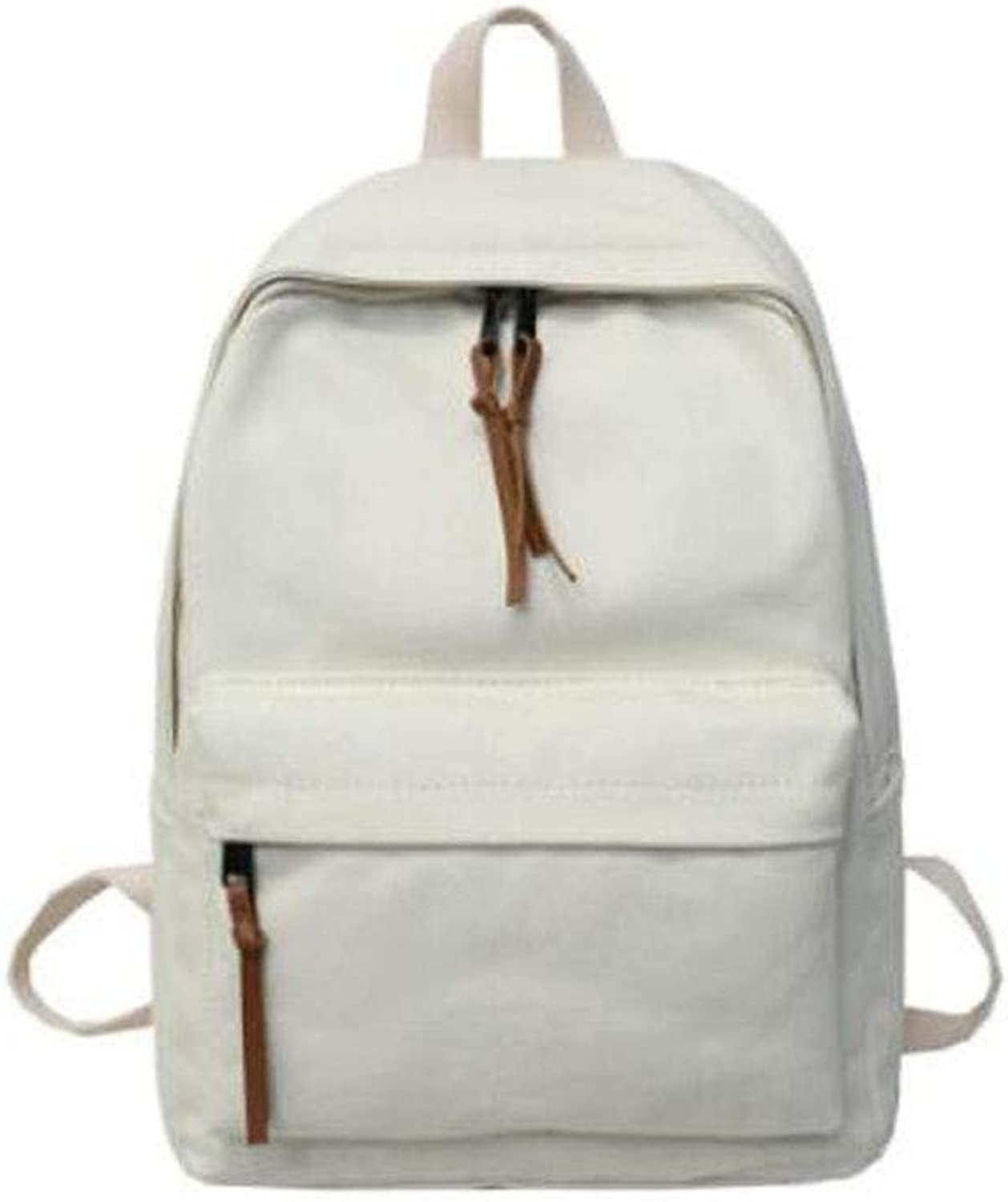 Casual Solid color Simple Canvas Women's Backpack, red (color   CreamyWhite)