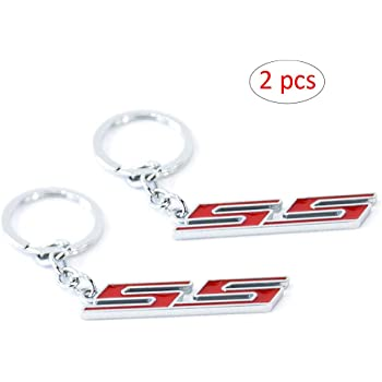 KKY Best 1pc 3D RS Emblem Keychain Metal RS Key Chain Fob Ring for Camaro Chevrolet GM Black