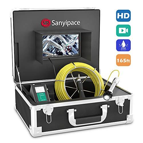 Drenare Telecamera di Ispezione 50M con DVR, Telecamera per Cellulare Endoscopio Industriale per Tubi con Schermo LCD da 7' 1000TVL CCD Scheda SD da 8GB Video Ispezioni Dispositivo IP68 Impermeabile