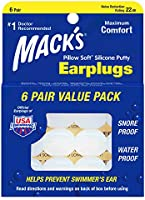 Mack's Pillow Macks Pillow Soft シリコン耳栓 6ペア NRR22 #7 透明【正規輸入品】