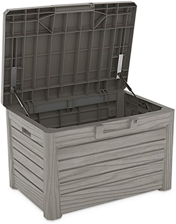 Toomax Kissenbox  Z158 grau 120 Liter Inhalt Holz Optik - mit Sitzflche 200 kg Tragkraft - absolut wasserdicht - abschliebar
