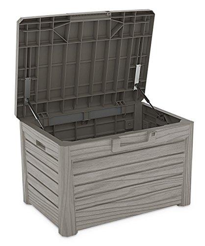 Toomax Kissenbox #Z158 grau 120 Liter Inhalt Holz Optik - mit Sitzfläche 200 kg Tragkraft - abschließbar